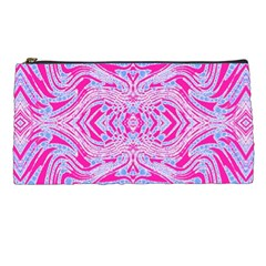 Trippy Florescent Pink Blue Abstract  Pencil Case by OCDesignss