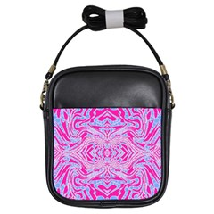 Trippy Florescent Pink Blue Abstract  Girl s Sling Bag by OCDesignss
