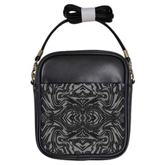 Trippy Black&white Abstract  Girl s Sling Bag