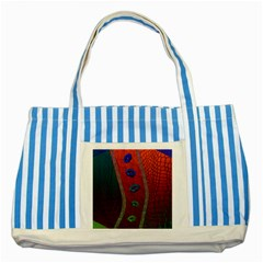 Funky Florescent Sassy Lips  Blue Striped Tote Bag