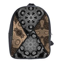 Crazy Beautiful Black Brown Abstract  School Bag (xl) by OCDesignss