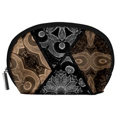 Crazy Beautiful Black Brown Abstract  Accessory Pouch (large)