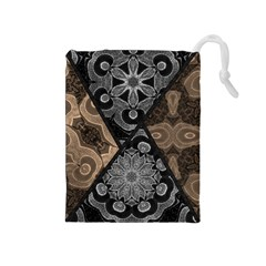 Crazy Beautiful Black Brown Abstract  Drawstring Pouch (medium)