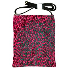 Florescent Pink Leopard Grunge  Shoulder Sling Bag by OCDesignss