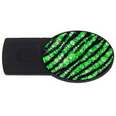 Florescent Green Tiger Bling Pattern  2gb Usb Flash Drive (oval) by OCDesignss