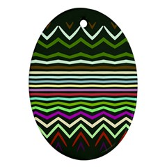 Chevrons And Distorted Stripes Ornament (oval)