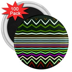 Chevrons And Distorted Stripes 3  Magnet (100 Pack) by LalyLauraFLM