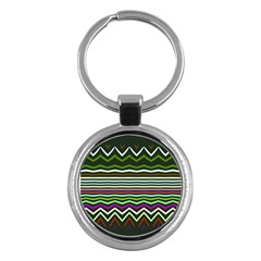 Chevrons And Distorted Stripes Key Chain (round) by LalyLauraFLM