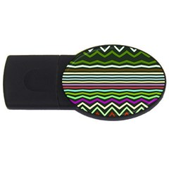 Chevrons And Distorted Stripes Usb Flash Drive Oval (2 Gb) by LalyLauraFLM