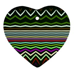 Chevrons And Distorted Stripes Heart Ornament (two Sides) by LalyLauraFLM