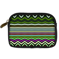 Chevrons And Distorted Stripes Digital Camera Leather Case by LalyLauraFLM