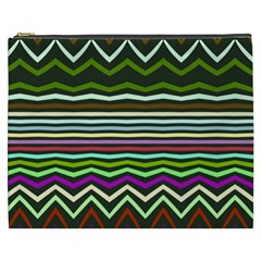 Chevrons And Distorted Stripes Cosmetic Bag (xxxl) by LalyLauraFLM