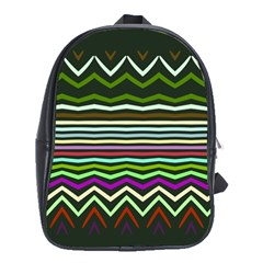 Chevrons And Distorted Stripes School Bag (xl)
