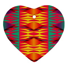 Colorful Tribal Texture Ornament (heart) by LalyLauraFLM