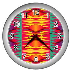 Colorful Tribal Texture Wall Clock (silver) by LalyLauraFLM