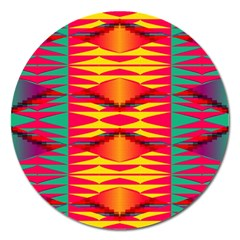 Colorful Tribal Texture Magnet 5  (round) by LalyLauraFLM