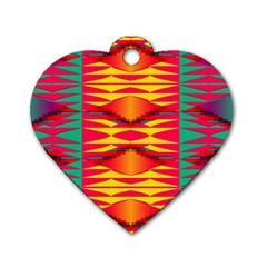 Colorful Tribal Texture Dog Tag Heart (one Side) by LalyLauraFLM