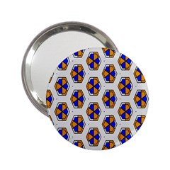 Orange Blue Honeycomb Pattern 2 25  Handbag Mirror