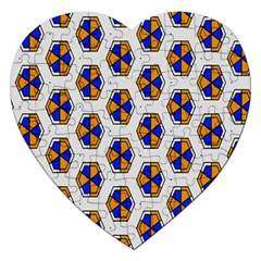 Orange Blue Honeycomb Pattern Jigsaw Puzzle (heart)