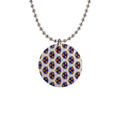 Orange Blue Honeycomb Pattern 1  Button Necklace by LalyLauraFLM