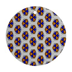 Orange Blue Honeycomb Pattern Round Ornament (two Sides) by LalyLauraFLM