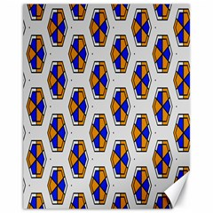 Orange Blue Honeycomb Pattern Canvas 11  X 14  by LalyLauraFLM