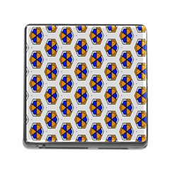 Orange Blue Honeycomb Pattern Memory Card Reader (square) by LalyLauraFLM