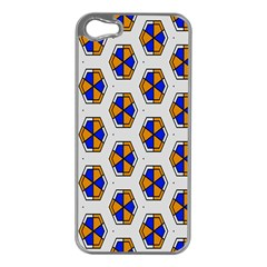 Orange Blue Honeycomb Pattern Apple Iphone 5 Case (silver) by LalyLauraFLM