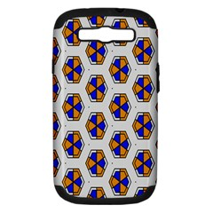 Orange Blue Honeycomb Pattern Samsung Galaxy S Iii Hardshell Case (pc+silicone)