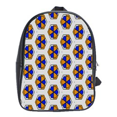 Orange Blue Honeycomb Pattern School Bag (xl) by LalyLauraFLM