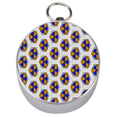 Orange Blue Honeycomb Pattern Silver Compass by LalyLauraFLM