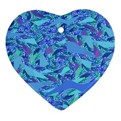 Blue Confetti Storm Heart Ornament (two Sides)