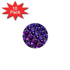 Blue Purple Glass 1  Mini Button Magnet (10 Pack) by KirstenStar