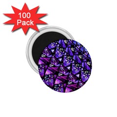 Blue Purple Glass 1 75  Button Magnet (100 Pack) by KirstenStar