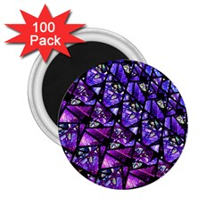 Blue Purple Glass 2 25  Button Magnet (100 Pack)
