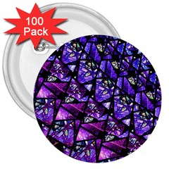 Blue Purple Glass 3  Button (100 Pack) by KirstenStar