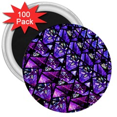 Blue Purple Glass 3  Button Magnet (100 Pack)