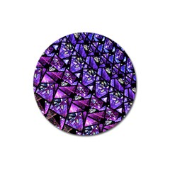 Blue Purple Glass Magnet 3  (round)