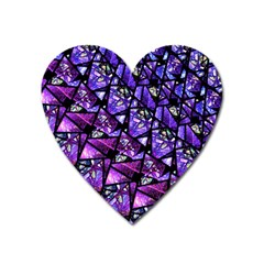 Blue Purple Glass Magnet (heart) by KirstenStar