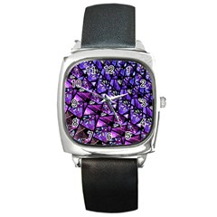 Blue Purple Glass Square Leather Watch