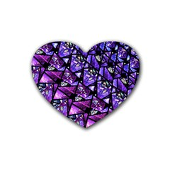 Blue Purple Glass Drink Coasters 4 Pack (heart)  by KirstenStar