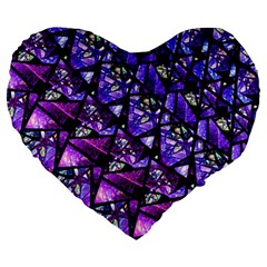 Blue Purple Glass Large 19  Premium Heart Shape Cushion by KirstenStar