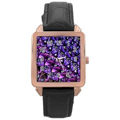 Blue Purple Glass Rose Gold Leather Watch  by KirstenStar