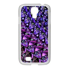 Blue Purple Glass Samsung Galaxy S4 I9500/ I9505 Case (white) by KirstenStar