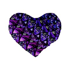 Blue Purple Glass Standard 16  Premium Flano Heart Shape Cushion  by KirstenStar