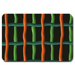 Orange Green Wires Large Doormat by LalyLauraFLM