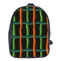 Orange Green Wires School Bag (large) by LalyLauraFLM