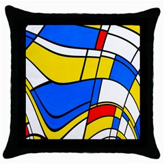 Colorful Distorted Shapes Throw Pillow Case (black) by LalyLauraFLM