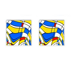 Colorful Distorted Shapes Cufflinks (square) by LalyLauraFLM