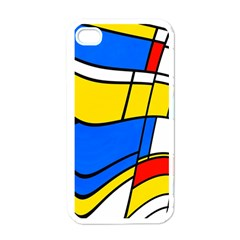 Colorful Distorted Shapes Apple Iphone 4 Case (white) by LalyLauraFLM